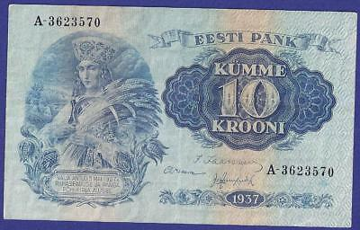 Superbe 10 Krooni 1937  Banknote From Estonia.