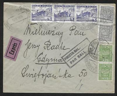 Pologne Poland 1935 Par Ballon Coupe Gordon Bennett Lettre Cover