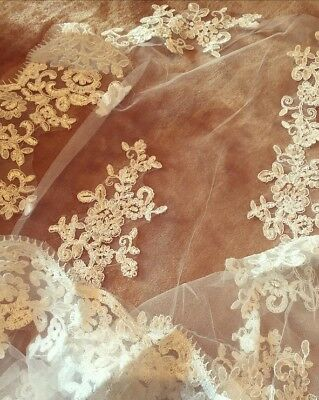 Beautiful Bridal Lace Crochet Net Veil Cathedral Long Wedding Veil With Comb NEW