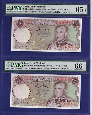 Gem Uncirculated 1000 Rials 1974-79 Pair Of Banknotes Middle East. Pmg 66/pmg 65