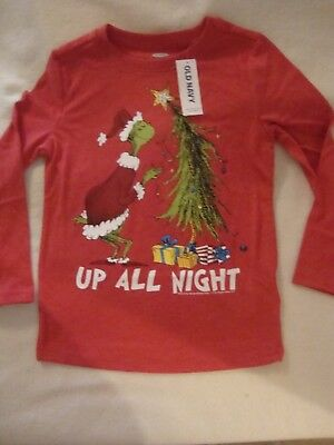 """Old Navy /  The Grinch  Christmas  Graphic  Tee Shirt Nwt  """"up All Night"""""""