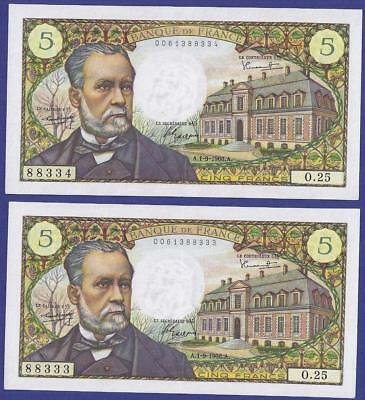 Superbe Uncirculated  Pair 5 Francs 1-9-1966  Banknotes From France