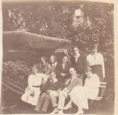 Vintage Old Photo Man Ladies Teenage Girls Boys Hammock Garden Summer 1915