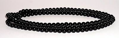 "ANTIQUE VICTORIAN  WHITBY JET VERY LONG BEADED 7mm NECKLACE 50"" MOURNING 55g"