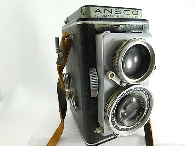 Ansco Automatic Reflex F3.5 Camera Twin Lens Vintage w/ Leather Strap AA1027
