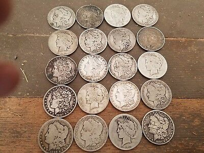 Morgan and Peace Silver Dollar Roll Culls,Slicks.Cleaned Twenty Coins 90% Silver