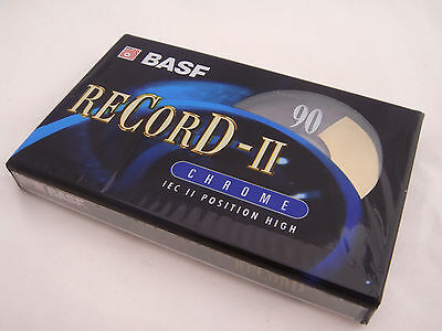 100 x BASF Record II Chrome Blank Audio Cassette 90 Minute Tapes * New Sealed