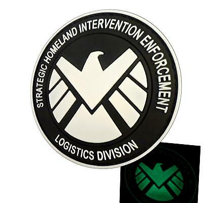glow dark the avengers movie SHIELD eagle emblema PVC 3D rubber hook&loop patch