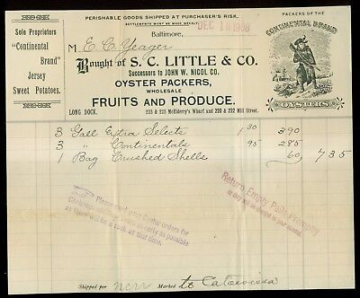 """1908 S.C. Little & Co. Oyster Packers """"Continental Brand Oysters"""" Invoice"""