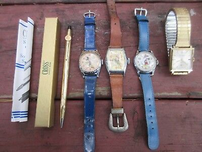 Vintage Character Watch Lot  Mickey Mouse Roy Rogers Walt Disney