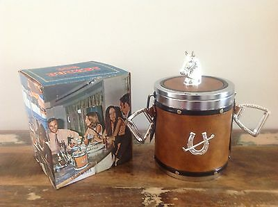 RETRO ICE BUCKET AS NEW and BOXED. HORSE HORSESHOE DESIGN BROWN LEATHER EC