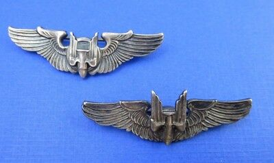 Vintage Sterling Silver Lot Of 2 Wwii Bomber Aircraft Gunner Wings Pin 16.8 G