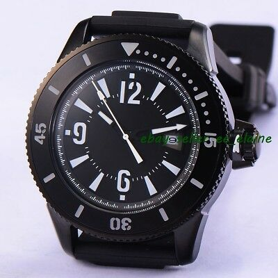 43mm PVD Case Mens Automatic Watches Black Dial Sub Style Rubber Straps 02