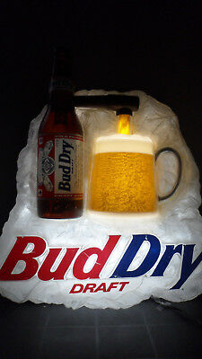 BUD DRY DRAFT LIGHTED PURING BEER MOTION on ICE   26""