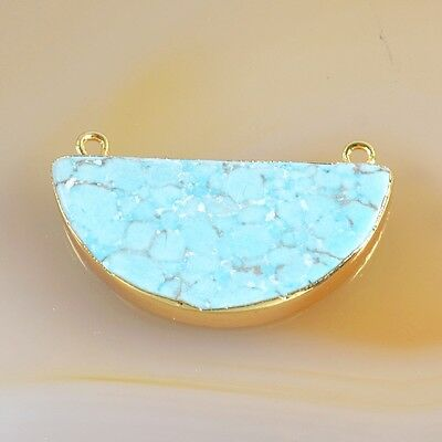 Half Moon Blue Howlite Turquoise Connector Gold Plated B039287