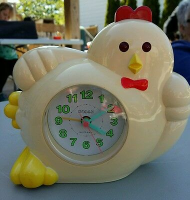 Kodak Rooster Chicken Alarm Clock 80's quartz tested and works