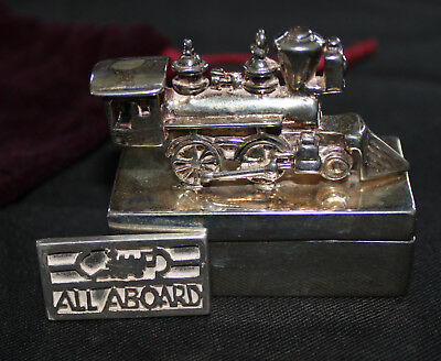 Collector Train Engine Solid Sterling Silver Box All Aboard,143 Grams