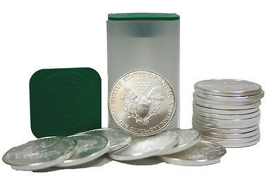 Lot of 40 Silver American Eagle 1oz .999 $1 Coins - 2 Rolls of 20 US Mint Eagles