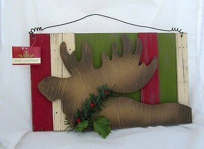 Moose Christmas Wall Decor Hanging Wood Sign Country Primitive Lodge Cabin
