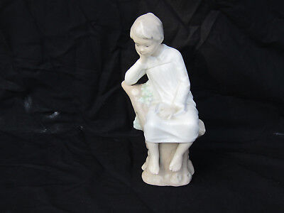 Vintage Lladro Boy Sitting on Stump Reading Book Figurine