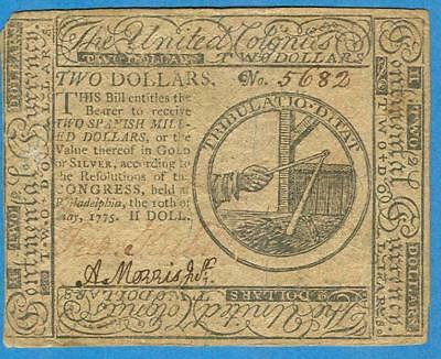 Cc-2,  $2.00  Continental Currency 5-10-1775  Original Choice Very Fine