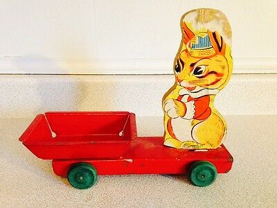 Antique 1930's General Toy Easter Bunny Pull Toy, Very Hard To Find
