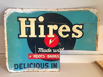 """Rare 1950's Hires Root Beer Delicious In Bottles Original Tin Sign, 27"""" X 19.25"""""""