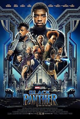 "Black Panther Movie Poster 2018 13x20"" 27x40"" 32x48"" Marvel Comics Film Print"