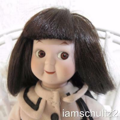 "Adorable Dynasty Doll Collectible 9"" Side Glance Bisque Porcelain Girl Doll"