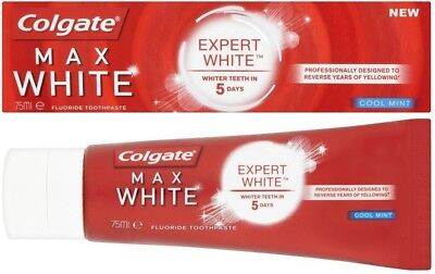 NEW Colgate MAX EXPERT WHITE Deep Stain Removal Whitening Toothpaste COOL MINT