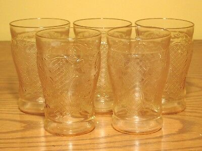 "Set of 5 - Antique Federal Glass NORMANDY Pattern PINK 4 1/4"" 9oz Tumblers"