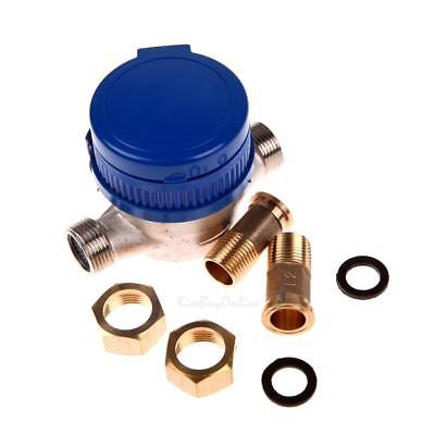 "15mm 1/2"" Brass Flow Measure Cold Water Meter Counter Garden Home w/ Fittings"