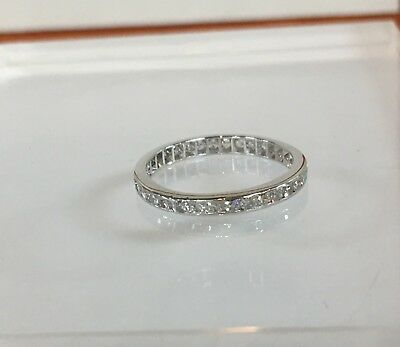 Vintage 14K White Gold .33CT Natural Round Eternity Diamond Wedding Band Ring