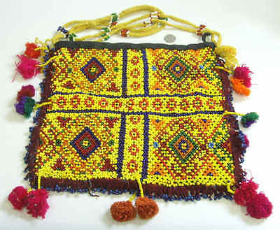 museum grade antique double sided ethnic Armenian seed beaded tribal bag 42076