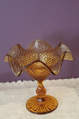 "English Hobnail Pattern 6"" Amber Glass Compote"