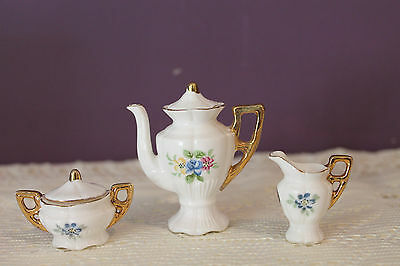 Japan Miniature Bone China Tea Set - Coffee / Tea Pot, Cream And Sugar