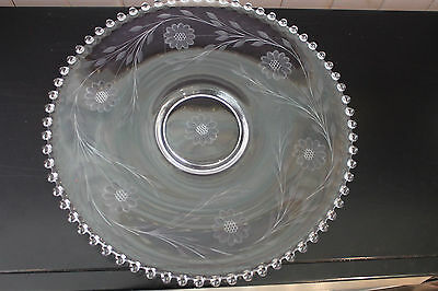"""Hughes Clear Cornflower Candlewick Large Round 14"""" Footed Platter"""