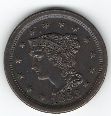 1853 Large Cent Liberty Braided Hair - AU? - Photos and Scans - You grade it!