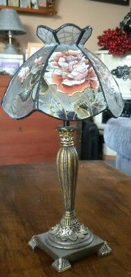 Acrylic Stained Glass Brass Tea Light Vintage Lamp