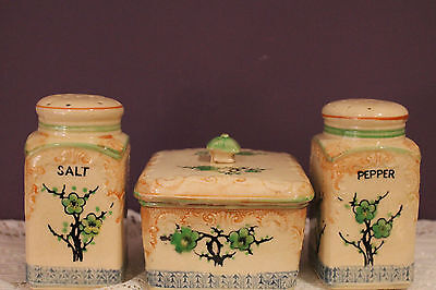 Vintage 3 Piece Set Of Ceramic Salt & Pepper And Covered Sugar / Butter Dish