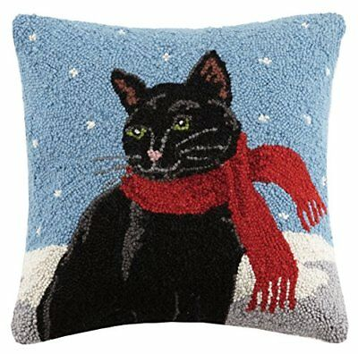Holiday Black Cat in Scarf  Hooked Wool Throw Pillow- 16""