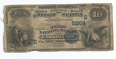 $10 1882 Series National Currency First National of Carrollton Georgia Blue Seal