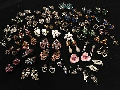 Lot of 50 Vintage & Antique Rhinestone Earrings Clip On Screw Back Most Unsigned