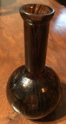 Antique Blown Art Glass Vase Pattern Called Oil Spot Unmarked