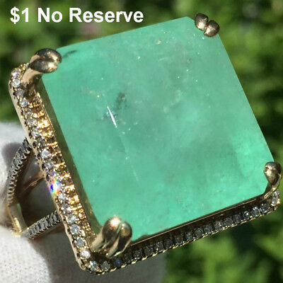 Natural 42.11ct COLOMBIAN EMERALD Diamond 14k GOLD halo ESTATE Cocktail Ring 15g