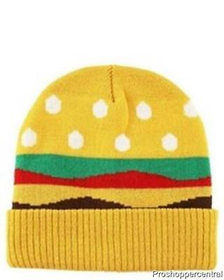 NEW Cat & Jack Boys' Yellow Hamburger Beanie Hat
