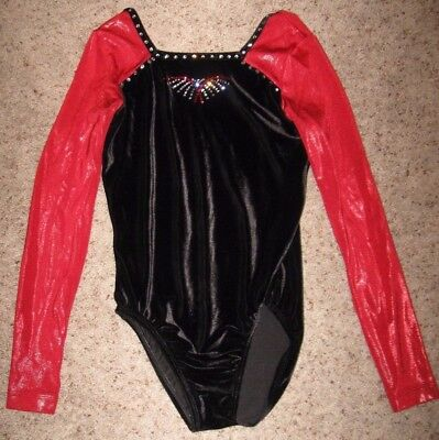 GK elite leotard black body w/ red long sleeves medium adult
