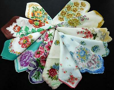 12 Vtg 50s 60s Floral Hanky Lot Some w Stickers