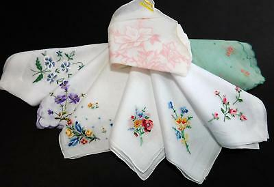 8 Vtg Hankies Petit Point Floral Embroidery one w Sticker Hanky Lot
