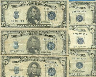 5-$5.00 1934 + 5-$5.00 1953 Blue Seal Silver Certificates  Average Circulated